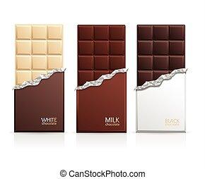 csokoládé, vektor, bár, blank., csomag