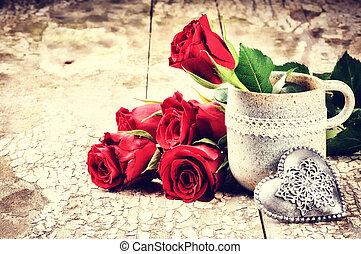csokor, agancsrózsák, beállítás, piros, valentine's