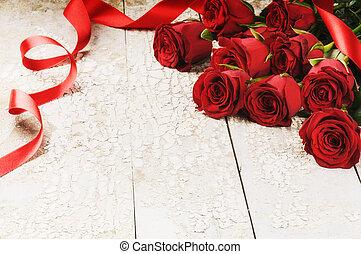 csokor, agancsrózsák, grunge, piros háttér