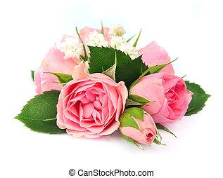 csokor, agancsrózsák, rózsaszínű