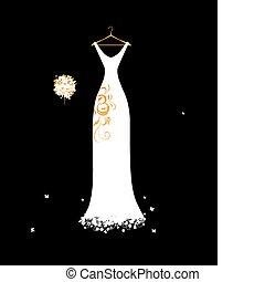 csokor, esküvő, virágos, fehér, hirdetmények, ruha