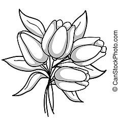 csokor, monochrom, tulipánok