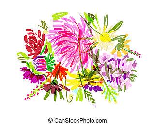csokor, nyár, tervezés, -e, virágos