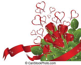 csokor, piros rózsa