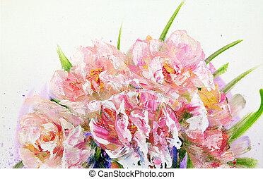 csokor, rózsaszínű virág