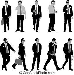 csomó, állhatatos, árnykép, háttér, illeszt, üzletember, fehér, ember
