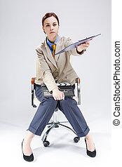 csomó, notepad, tele, kaukázusi, feltevő, actioncut., előmozdít, ing, hegyezés, blue szék, portré, nő, hosszúság