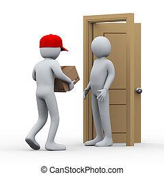 csomag, ember, 3, felszabadítás, otthon