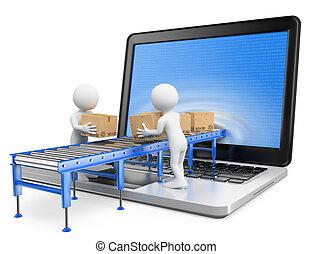 csomagok, átadó, át, emberek., ellenző, 3, laptop, fehér