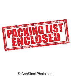 csomagolás, bekerített, lista