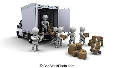 csomagolás, férfiak, dobozok, hajórakomány