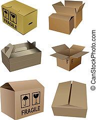 csomagolás, kartondoboz, dobozok, állhatatos, isola