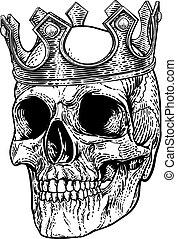 csontváz, koponya, király, királyi, fárasztó, fejtető, emberi