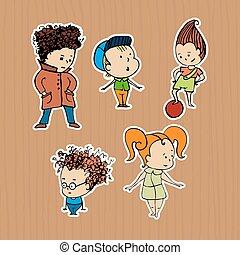 csoport, ábra, gyerekek, böllér