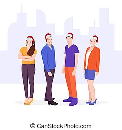 csoport, öltözött, karácsony, fiatal, kalapok, emberek