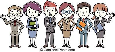 csoport, ügy emberek, öltözött, team., pontos, suit.