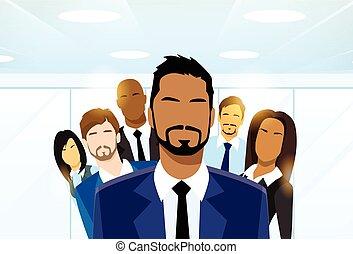 csoport, ügy emberek, különböző, sportcsapat vezető