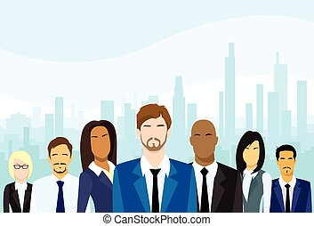 csoport, ügy emberek, vektor, befog, különböző