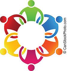 csoport, ügy sportcsapat, 6, ikon, design.