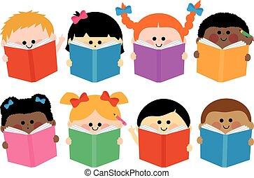 csoport, books., ábra, vektor, felolvasás, gyerekek