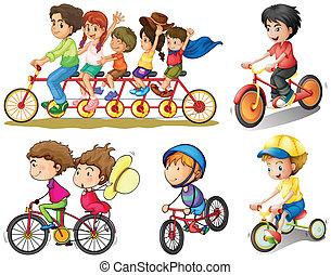 csoport, bringázás, emberek