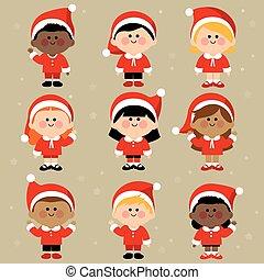 csoport, costumes., öltözött, klaus, ábra, gyerekek, vektor, szent, különböző, karácsony