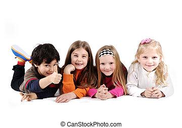 csoport, család, emelet, lefektetés, elszigetelt, gyerekek, föld