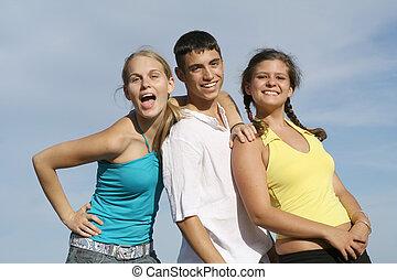csoport, diákok, faj, tizenéves kor, kevert, gyerekek, vagy