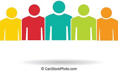 csoport, emberek, 5., befog, jel, matt