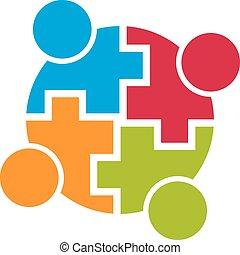 csoport, emberek., connection., közösség, vektor, csapatmunka, 4, tervezés