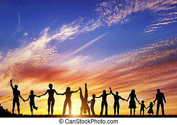 csoport, emberek, család, együtt, kéz, különböző, barátok, befog, boldog