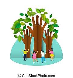 csoport, emberek, eco, bitófák, dolgozat, barátságos, boldog