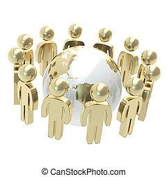 csoport, emberek, földgolyó, jelképes, körülvevő, földdel feltölt