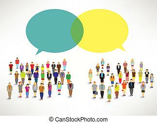 csoport, emberek, gyűjt, nagy, vektor, tervezés