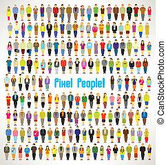 csoport, emberek, gyűjt, nagy, vektor, tervezés, fénykép