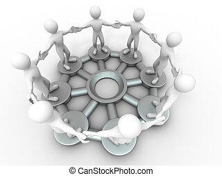 csoport, emberek., híradástechnika, teamwork., kép, fogalmi, vagy, 3