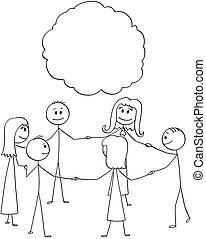 csoport, emberek, kézbesít, vagy, más, birtok, mindegyik, karika, befog, karikatúra