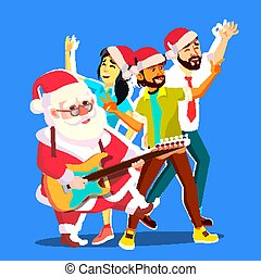 csoport, emberek, klaus, ábra, gitár, year., vektor, tánc, szent, új, fél, egyesített, karácsony, hands.