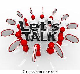 csoport, emberek, let's, beszéd, elhomályosul, karika, megvitat, beszél