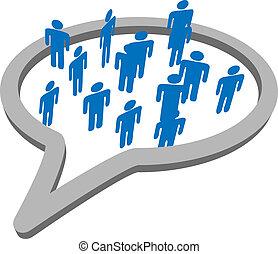 csoport, emberek, média, beszéd, társadalmi, buborék, beszél