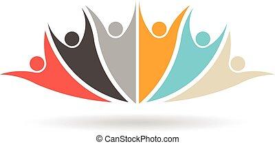 csoport, emberek, média, társadalmi, 6, jel