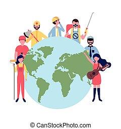 csoport, emberek, munka, világ, nemzetközi, nap