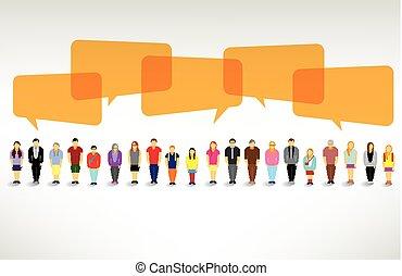 csoport, emberek, nagy, összehúz, beszél