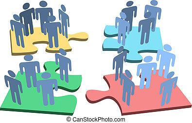 csoport, emberek, rejtvény, oldás, darabok, emberi, szervezet