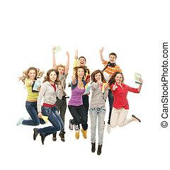 csoport, fényképezőgép, tizenéves, együtt, elszigetelt, látszó, ugrás, mosolygós, fehér