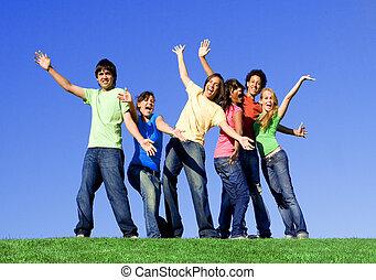 csoport, faj, kevert, tizenéves
