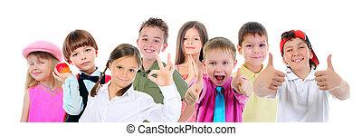 csoport, feltevő, gyerekek