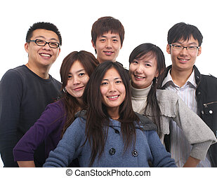 csoport, fiatal, ázsiai