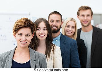 csoport, fiatal, ügy emberek