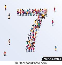 csoport, forma, nagy, emberek, 7, szám 7